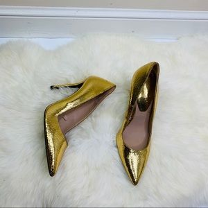 ZARA | Women's Gold Pointed Toe Heels Size 37